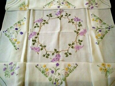 """Glorious Lilac Circle & Spring Flowers   Raised Hand Emb Tablecloth 50"""" X 51"""