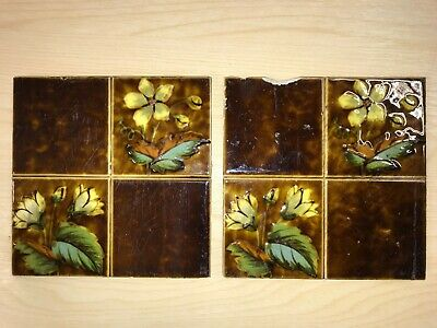 Antique Victorian Wall Fireplace Tiles - Art Nouveau x 2 - Quartered Floral