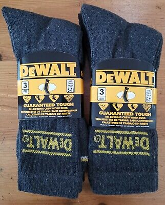 6 Pairs Mens Dewalt Work Boot Socks Uk Shoe Size 6-11