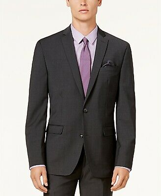 $425 Bar Iii Men'S 40l Gray Slim Fit Wool 2 Button Blazer Sport Coat Suit Jacket