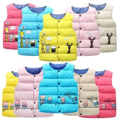 Kids Boys Girls Toddler Cartoon Body Warmer Gilet Padded Puffer Vest Jacket Coat