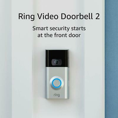 Ring Video Doorbell 2 Newest Version Satin Nickel and Black Color 1080 HD Wifi