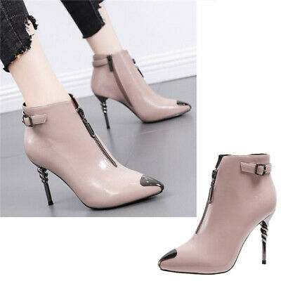 New Women Ladies Pointed Toe Zip High Heel Ankle Boots Party Sexy Stiletto Shoes