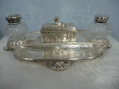 ENGLISH SILVER PLATE EGYPTIAN REVIVAL DOUBLE INKWELL w/STAMP BOX & CRYSTAL JARS