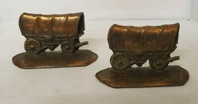 Antique W.H.Howell Co. Cast Iron Cowboy Horse Wagon Carriage Book Ends Lot 2
