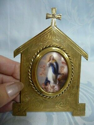 Mary & Angels Hand Painted On Porcelain, Framed In Brass Or Bronze