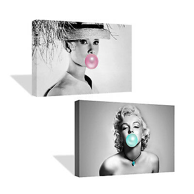 Audrey Hepburn and Marilyn Monroe Chewing Gum Canvas Print TWO-PIECE SET BnW