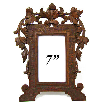 """Antique Black Forest Style Carved 7.25"""" Picture Frame, Pierced Vines & Foliage"""