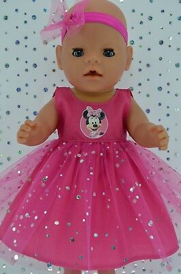"Play n Wear Dolls Clothes To Fit 17"" Baby Born HOT PINK SEQUIN DRESS~HEADBAND"