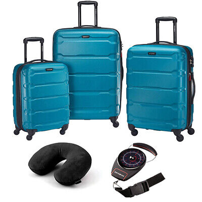 Samsonite Omni Hardside Luggage Nested Spinner Set of 3 Blue with Travel Kit