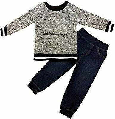 Calvin Klein Jeans Boys 2 Piece Sweater And Pant Set Grey New