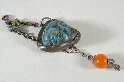 Antique Chinese Chatelaine, Silver Repousse With Enamel, Cow's Head