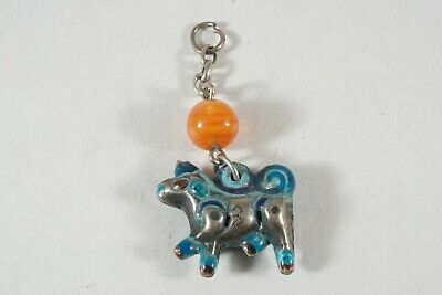 Antique Chinese Chatelaine, Silver Repousse With Enamel, Cow (or Dog?)