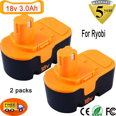 3.0Ah For Ryobi 18V Battery Ni-Mh ONE+ P100 P101  ABP1801 ABP1803 130224028-2PCS