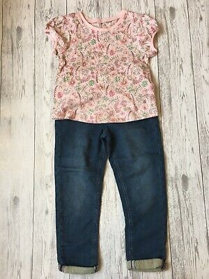 Girls George At Asda Floral T-Shirt And Jeans Outfit Age 3-4 Years