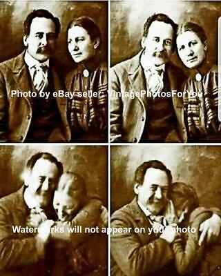 Old Antique Vintage Cute Funny Weird Strange Victorian Couple Laughing Photo