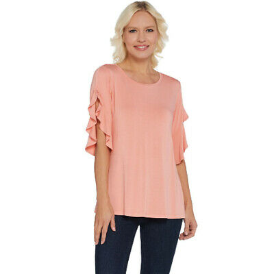 H Halston Flutter Slv Crew Neck Knit Top Coral Reef 2X NEW A305339