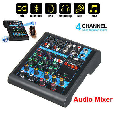 4 Channel Professional USB Bluetooth Mixer DJ Audio Sound Mixing Console Karaoke