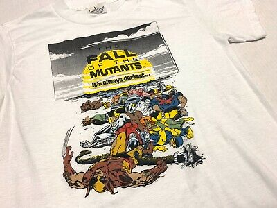 Vintage 1988 Fall of the Mutants Marvel T-shirt X-Men Wolverine Cyclops 80s M