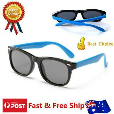 Kids Polarized Sunglasses Silicone Safety Glasses Gift for Boys Girls Baby Blue