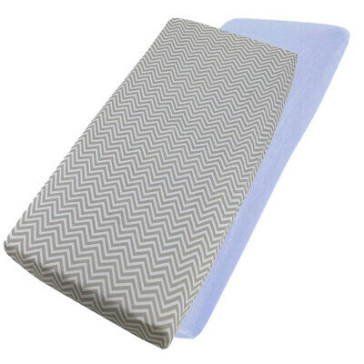Blue 2 x Moses Basket 100/% Cotton Soft Jersey Fitted Sheets