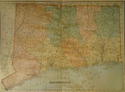 Vintage 1907 CONNECTICUT MAP Old Antique Original & Authentic - Free S&H