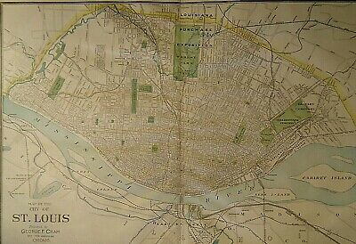 Vintage 1907 ST LOUIS MAP Old Antique Original & Authentic Atlas Map Free S&H
