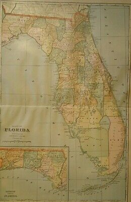 Vintage 1907 FLORIDA MAP Old Antique Original & Authentic Atlas Map - Free S&H