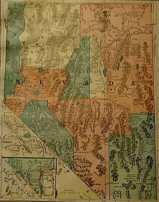 Vintage 1907 NEVADA MAP Old Antique Original & Authentic Atlas Map ~ Free S&H