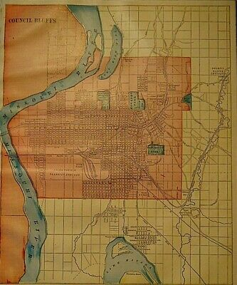 Vintage 1907 COUNCIL BLUFFS MAP Old Antique Original & Authentic ~ Free S&H