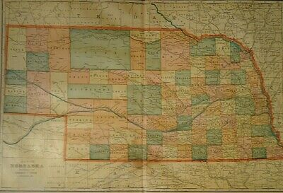 Vintage 1907 NEBRASKA MAP Old Antique Original & Authentic Atlas Map - Free S&H