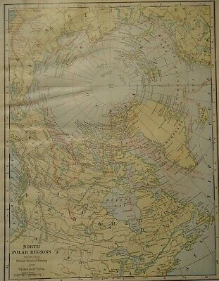 Vintage 1907 NORTH POLE / REGIONS MAP Old Antique Original & Authentic  Free S&H
