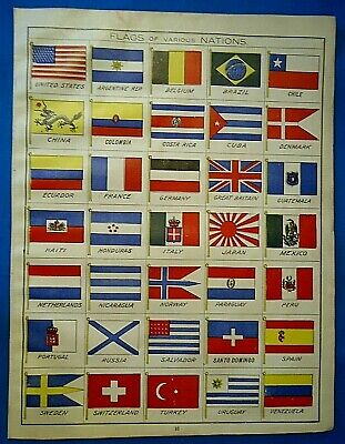 Vintage 1907 Cram's Atlas Illustration ~ FLAGS of VARIOUS NATIONS - Free S&H