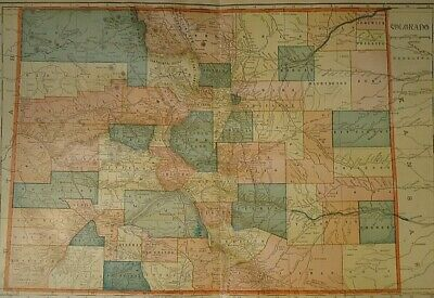 Vintage 1907 COLORADO MAP Old Antique Original & Authentic Atlas Map - Free S&H