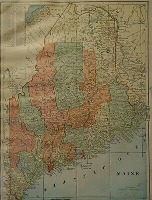 Vintage 1907 MAINE MAP Old Antique Original & Authentic Atlas Map ~ Free S&H