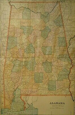 Vintage 1907 ALABAMA MAP Old Antique Original & Authentic Atlas Map - Free S&H