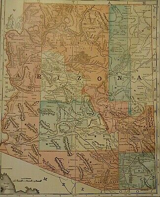 Vintage 1907 ARIZONA TERRITORY MAP Old Antique Original & Authentic ~ Free S&H