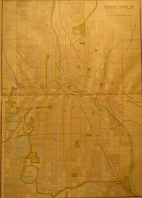 Vintage 1907 MINNEAPOLIS MAP Old Antique Original & Authentic Atlas Map Free S&H