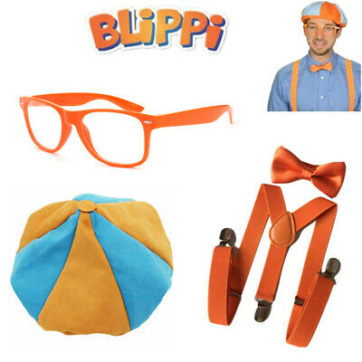 Children TV Show Blippi Kids Tie Bow Strap Trousers Strap Braces Pants Cosplay