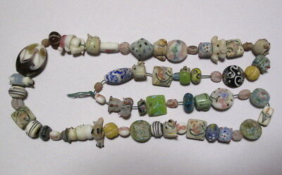 A String Beautiful China Peking Glass Color Glaze Carved Animal Bead Necklace