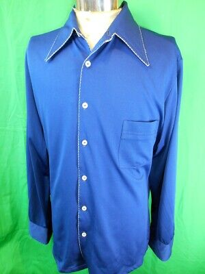 Fabulous Vintage 1970s Silky Blue Polyester Disco Dress Party Shirt Large