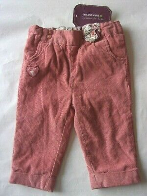 Ja9760 PANTALON velours doublé °° SERGENT MAJOR °° 6 mois T. réglable BEBE FILLE