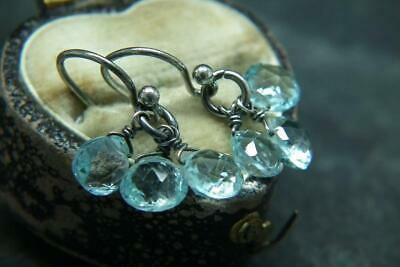 Lovely Antique/Vintage Silver & Faceted Semi Precious Stone Dangly Earrings