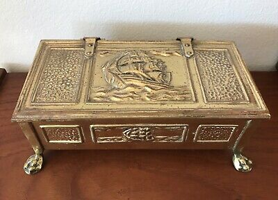 ARTS & CRAFTS BOX Antique Brass Lined Box ca 1905 w Galleons