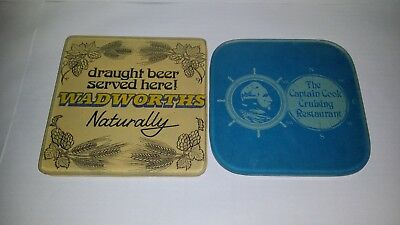 2 Collectable Glass Advertising Drink Coasters Barware