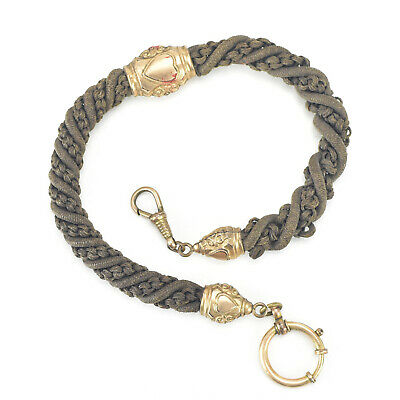 Victorian Mourning Human Hair Watch Chain Gold Filled Mountings