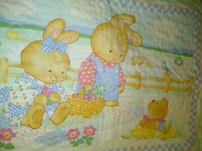 VINTAGE  PATCHWORK BABY BLANKET  BUNNY RABBIT CRIB QUILT  RUFFLE Ships Free!