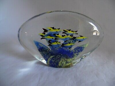 MURANO Glass 13 Fish Art Glass Aquarium Sculpture Paperweight