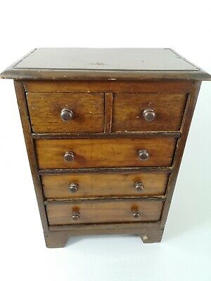 Antique Edwardian Wooden Small Table Top Drawers Jewellery Cabinet Storage