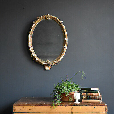 Distressed Antique French Mirror - 19th Century Gilt and Gesso oval mirror